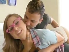 Riley Reid is a schoolgirl with a short skirt