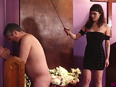 Naked chesty buddy has to invite while being slapped by Audrey Noir