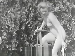 Nudist Girl Feels Willing Scanty in Garden (1950s Vintage)