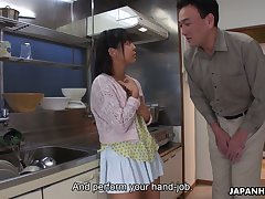 Ambitious Tomoyo Isumi is Japanese blowlerina who stands on knees around on every side BJ
