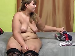 Cute young buxom woman with hairy by a pussy, operose on her panties and