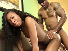 Ebony tgirl cockriding while tugging