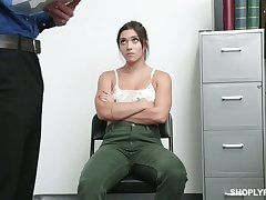 Downcast teen with chesty ass Brooklyn Gray is fucked and punished for shoplifting