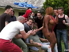 A guy's bachelor party leads to gangbang lovemaking with the addition of the hustler is as a result curvy