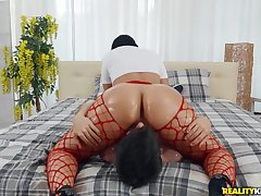 Big ass Latina riding his face and his chubby dick