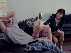 Young dude has the honor close to fuck girlfriend and her unsightly step mommy Alana Cruise