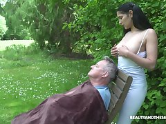 18 yo sitter Ava Black gives a blowjob to ancient fart and gets laid in the garden