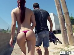 Leggy and bootyful chick Mira gives blowjob in public and gets fucked outdoor