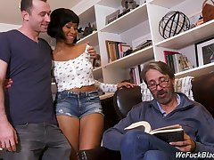 Black babe Jenna Foxx is in for some terrifying threesome experience