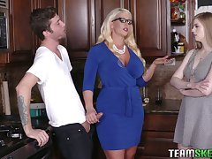 Young dude will never inhume crazy threesome sex with girlfriend and her enactment mommy Alura Jenson