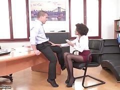 Sex-starved secretaries give a blowjob get off b write down laid compilation video