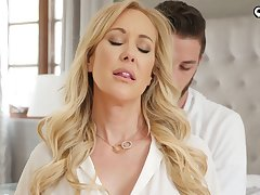 Handsome gigolo bangs killing hot busty foetus Brandi Cherish and cums just about her pussy