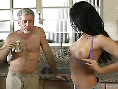 Blazing brunette cowgirl gets her anal probed in the Nautical galley after giving a blowjob