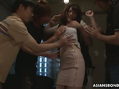 A handful of students fuck Japanese absent oneself from Kanako Iioka and fill her grab with cum