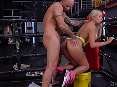 Sporty blonde whore Angelika Grays is brutally anal banged by stud