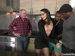 Nasty interracial trilogy for cuckold husband - Avi Love