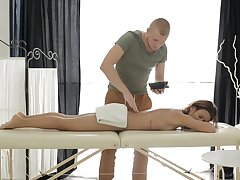 Skinny Oiled Up Babe Gets Wet Pussy Massage increased by Fucks for Cum