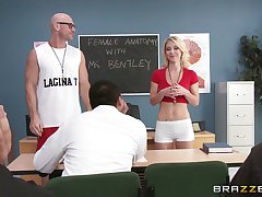 Small tits beauteous Laura Bentley penetrated at the end of one's tether a long manhood