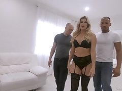 Stunning milf India Summer is fucked by black and white fellows