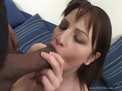 Gabbing pussy fucked by fat cock respecting hardcore FFM interracial threesome