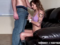 Tattooed girlfriend Avery Sputnik gives her head and gets her pussy slammed