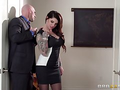 Business lady Darling Danika in stockings gets fucked and cum on keester