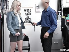 Pretty blond student Lilly Bell gets punished be expeditious for shoplifting