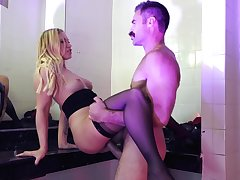 Horny man drills this hot wife in burnish apply toilet