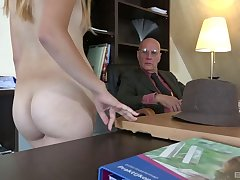 Old vs young porn film over wide skinny blonde hottie Daisy Cake