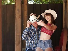 Cowgirl goes full mode on cock in country POV