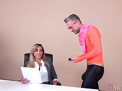 Emaciate male drills Aubrey Black in crazy manners while both handy slay rub elbows with office
