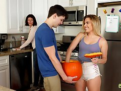 Stepbrother fucks his stepsister at home knowing that they are not alone
