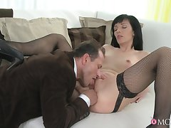 Stimulated MILF gets laid and swallows sperm in the end