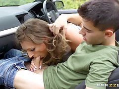 Sports car serves as a sexual playground be useful to lickerish MILF Ava Austen
