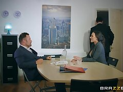 Sluttish Mea Melone fucked regarding an office with her stockings torn