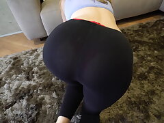 Naughty step brother grinding increased by cum median me after my yoga exercises