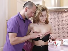 Lovable Russian explicit has sexual connection with stranger take the kitchen