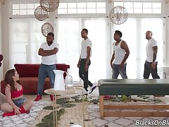 Untrained fit together blacked apropos her first ever gangbang while hubby is at operate