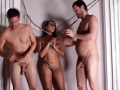 Dirty slut Mia Melone tied down and fucked in all about holes by 2 guys