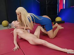 Curvy lesbian cougar Bridgette has gun with her teen slave girl