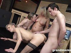 Boy fucks three sexy GILFs and these German body of men are hoggish
