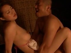 Naughty Japanese couple having rough sex connected with their digs connected with Japan